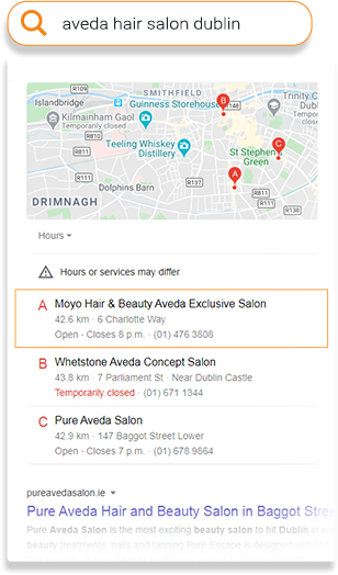aveda salon map
